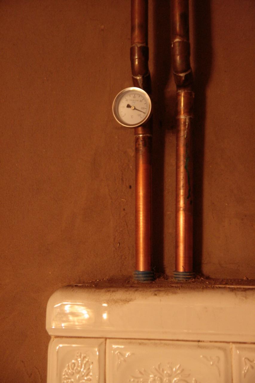 termometr CO, kuchnia kaflowa z kociołkiem
